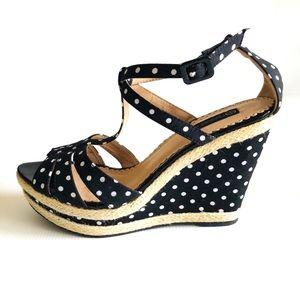Forever New Sz 41 Wedge Sandals Polka Dot Peep Toe Buckle Up